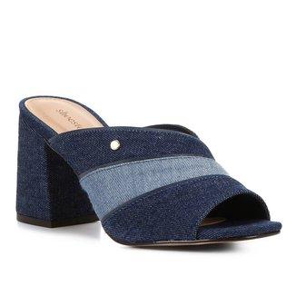 Mule Shoestock Jeans Organic Salto Bloco