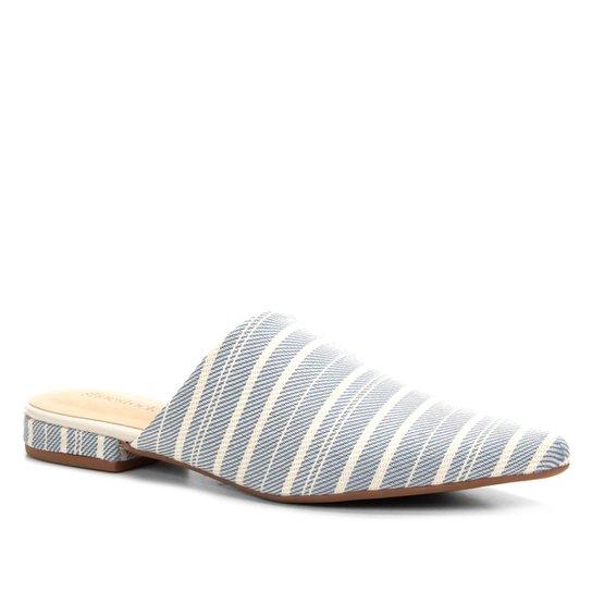 Mule Shoestock Tecido Bico Fino Feminina - Azul