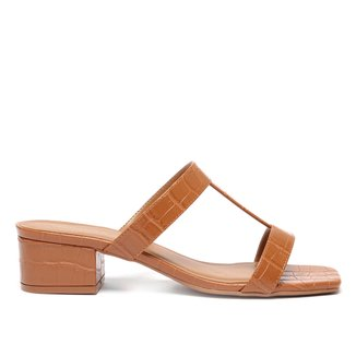 Mule Shoestock Tiras Salto Bloco