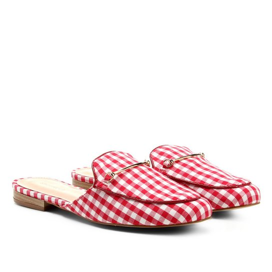 Mule Shoestock Vichy Feminina - Vermelho