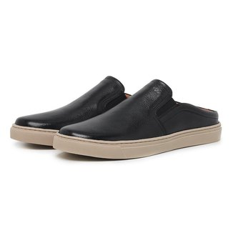 Mule Slip On Masculino Couro Casual Confortável