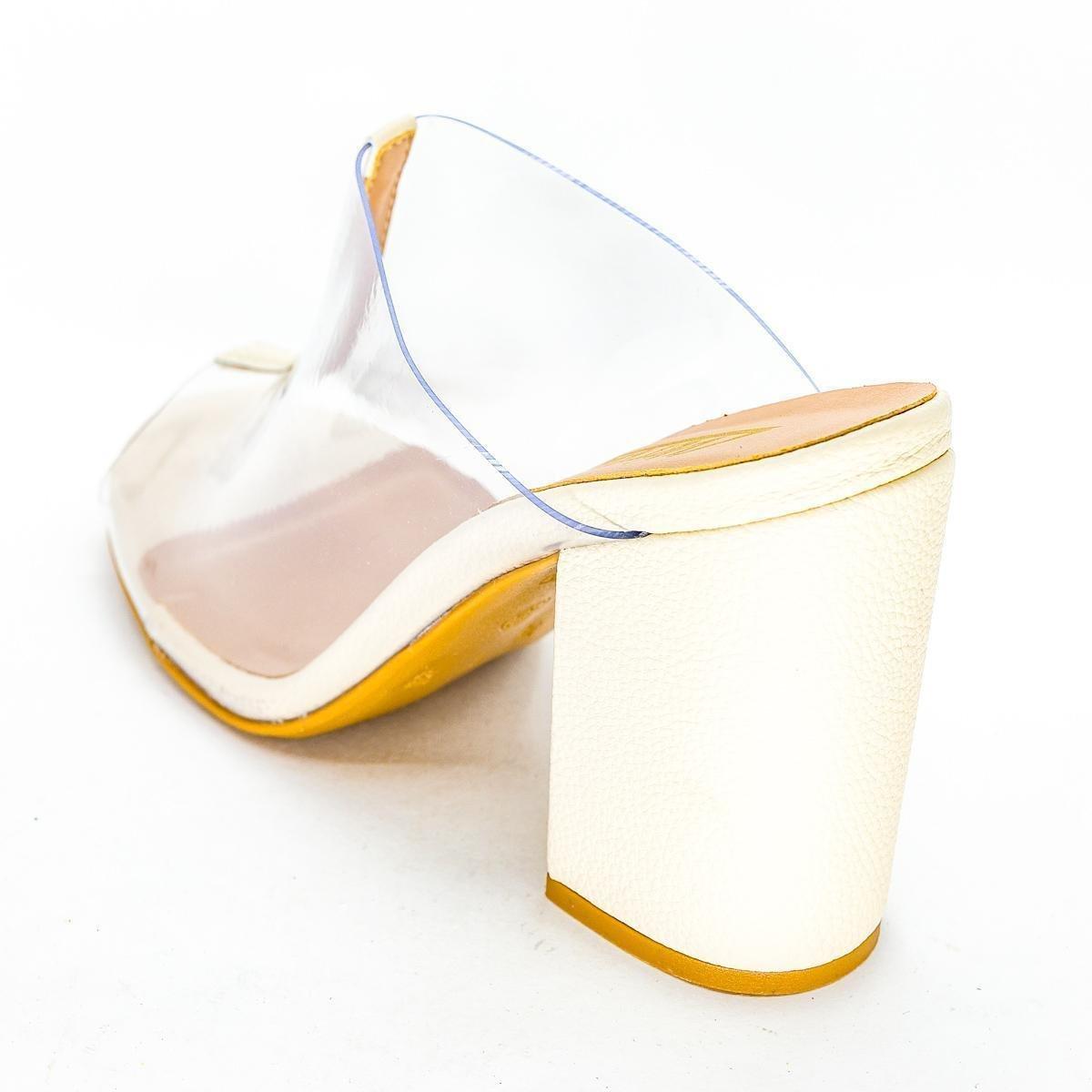 Mule Vértice Salto Grosso Transparência Feminino - Off White