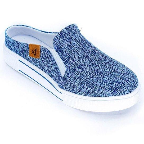 Mule Vértice Slip On Jeans Feminino - Azul Claro