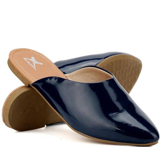 Mule Yes Basic Bico Fino Confortável Verniz Feminino - Azul Escuro