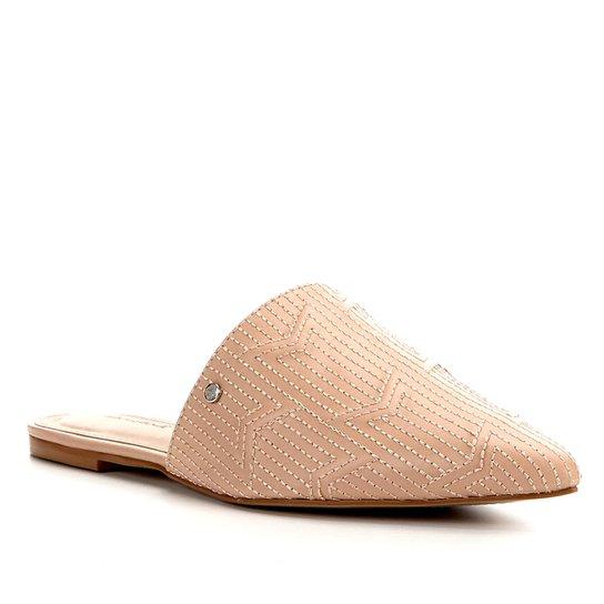 Mules Shoestock Flat Couro Matelasse - Nude