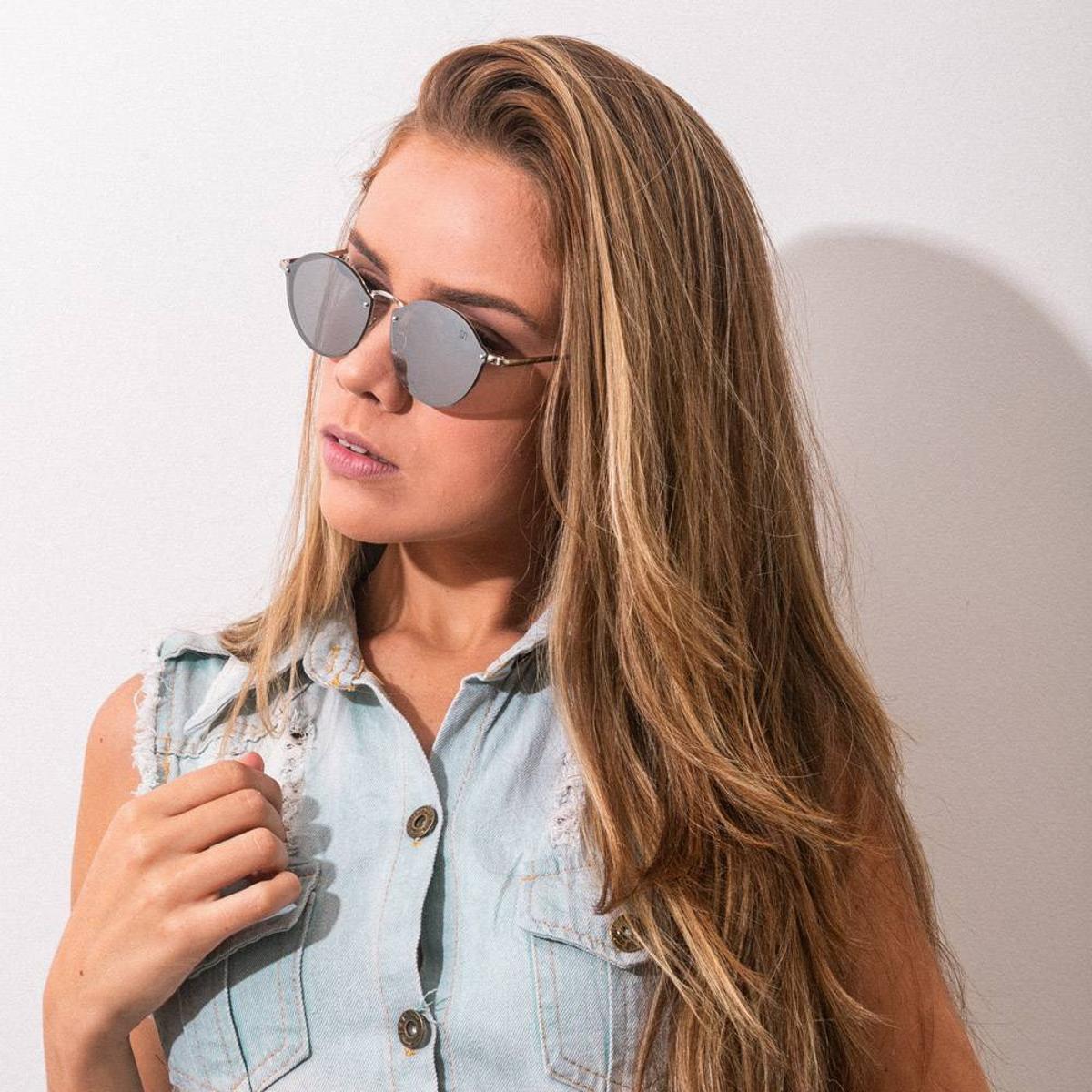 Óculos de Sol Classic Redondo Espelhado - Prata - Compre Agora   Zattini 6634dc9d65