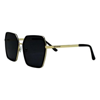 Óculos De Sol Díspar D2284 Geométrico - Dourado/Preto