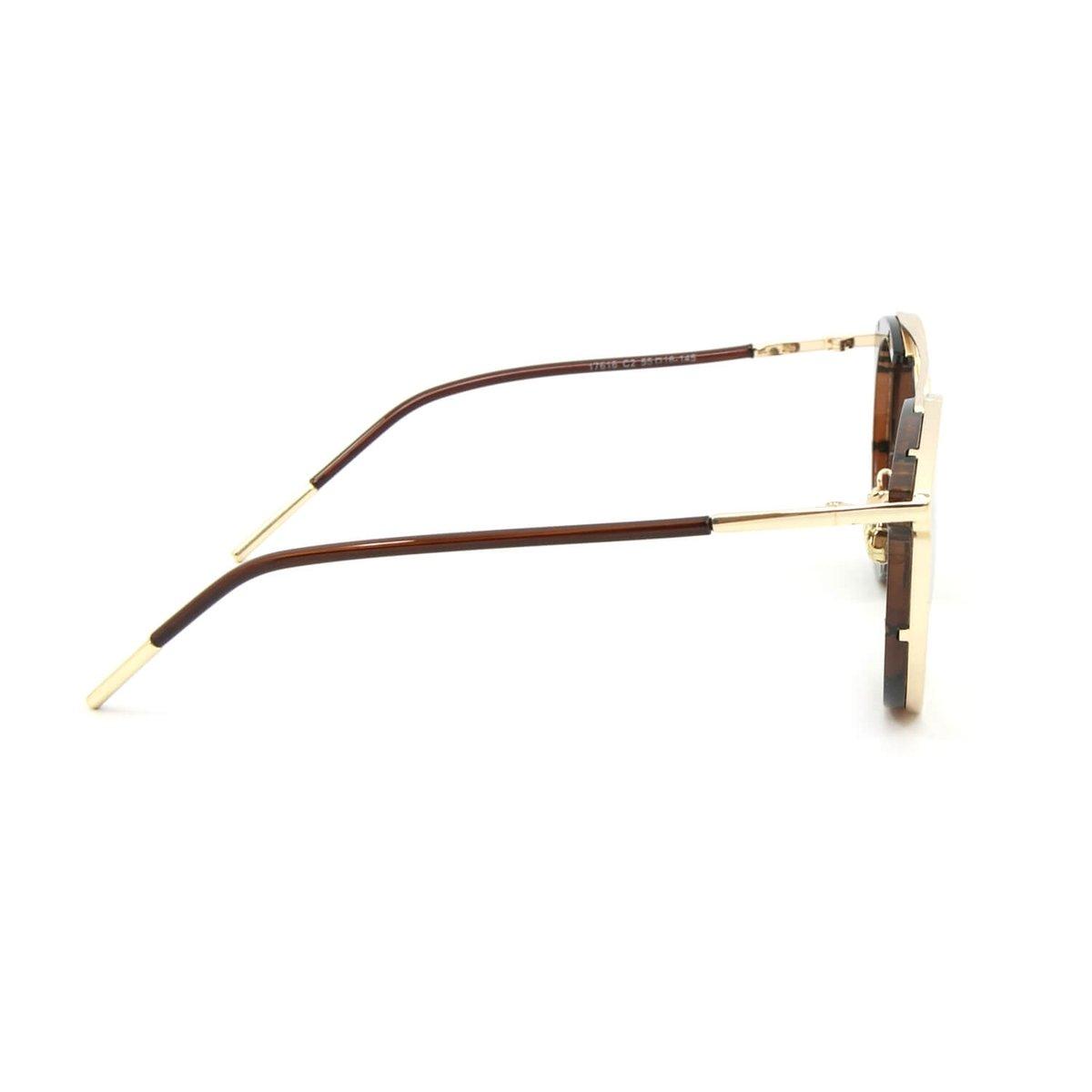 Óculos de Sol Estilo Top Bar com Lente - Marrom