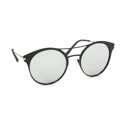 Óculos De Sol Estilo Top Bar Redondo  Espelhado-Feminino