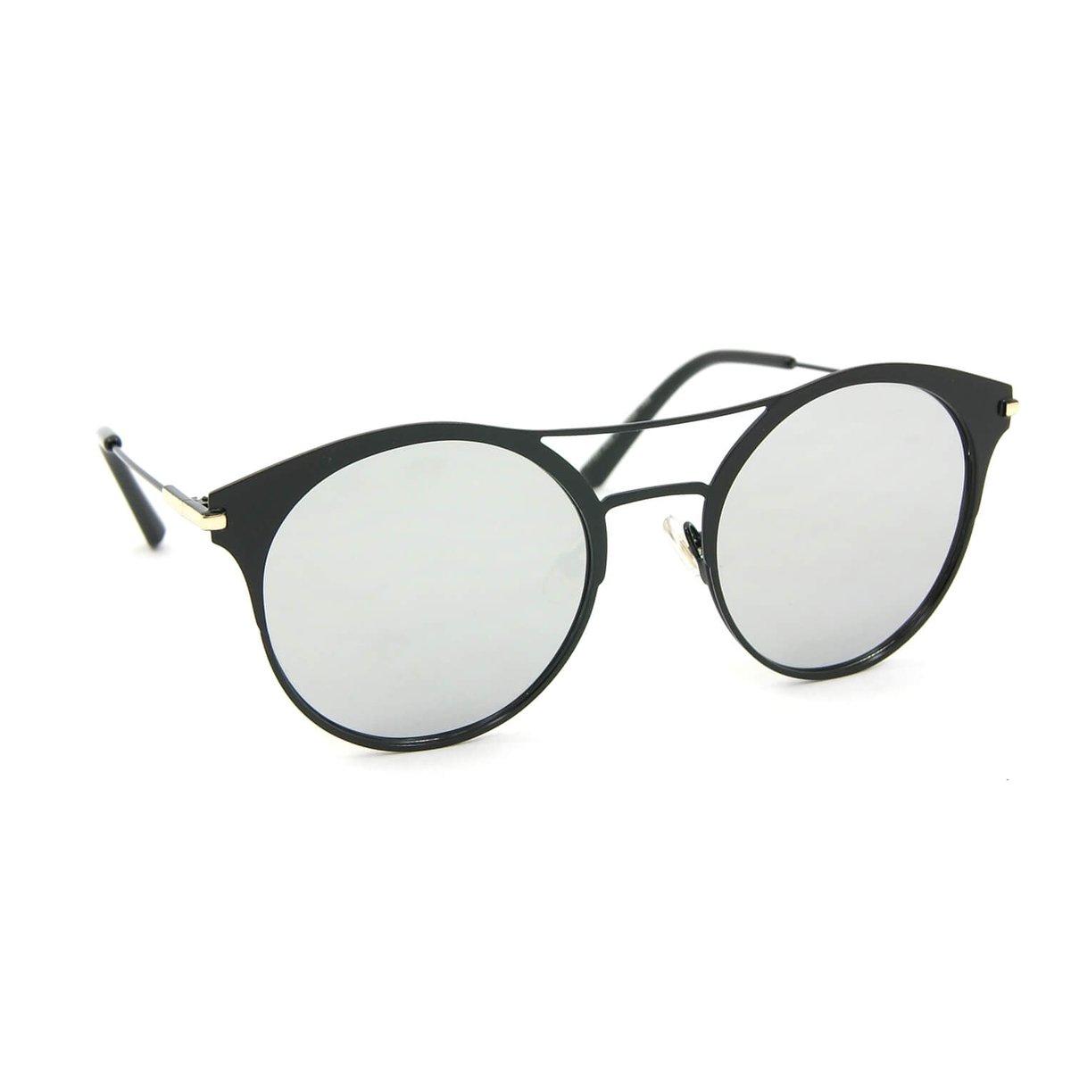 8c86daed0 Óculos de Sol Estilo Top Bar Redondo Espelhado - Preto | Zattini