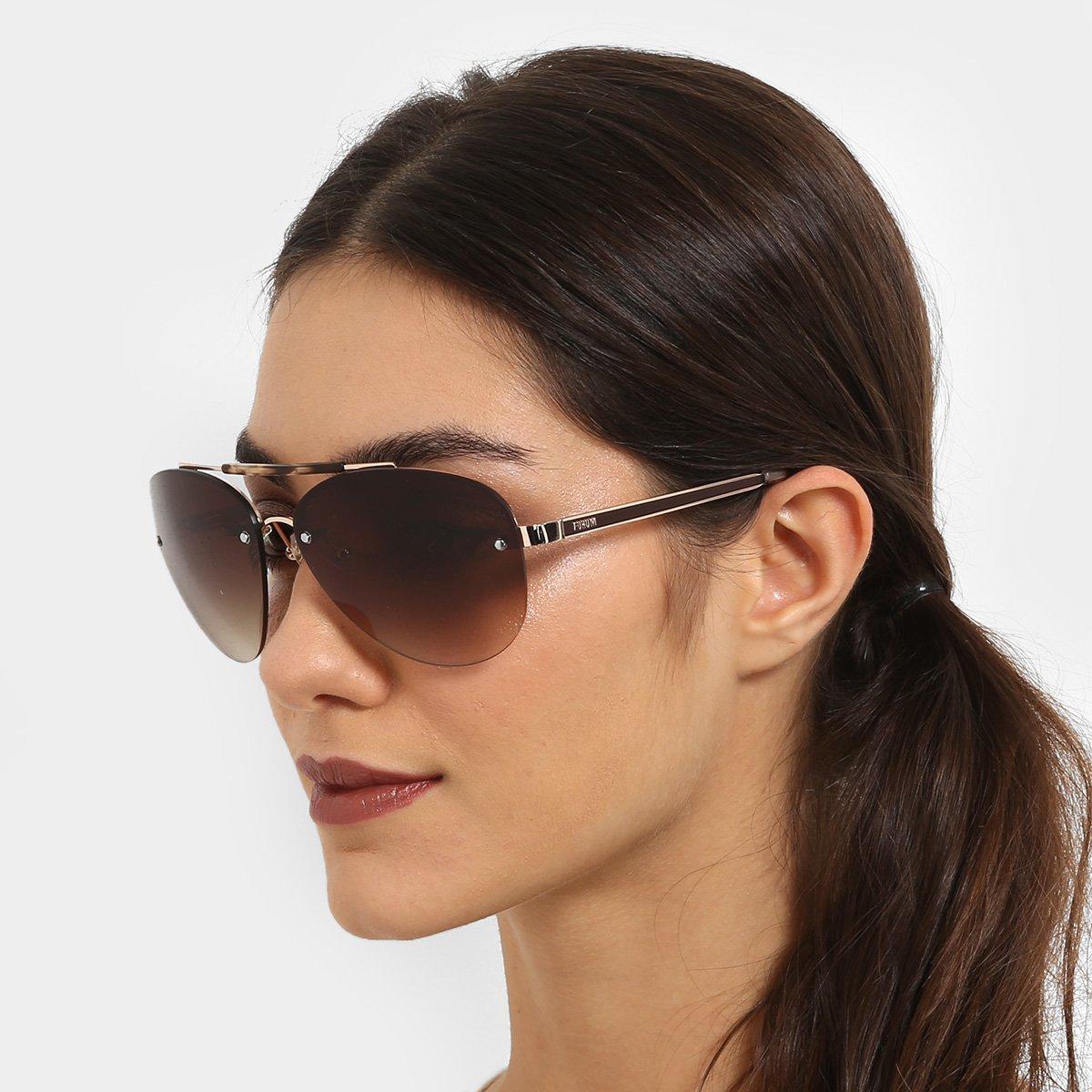 c47891ee9559b Óculos de Sol Forum Dourado Marrom Masculino - Compre Agora