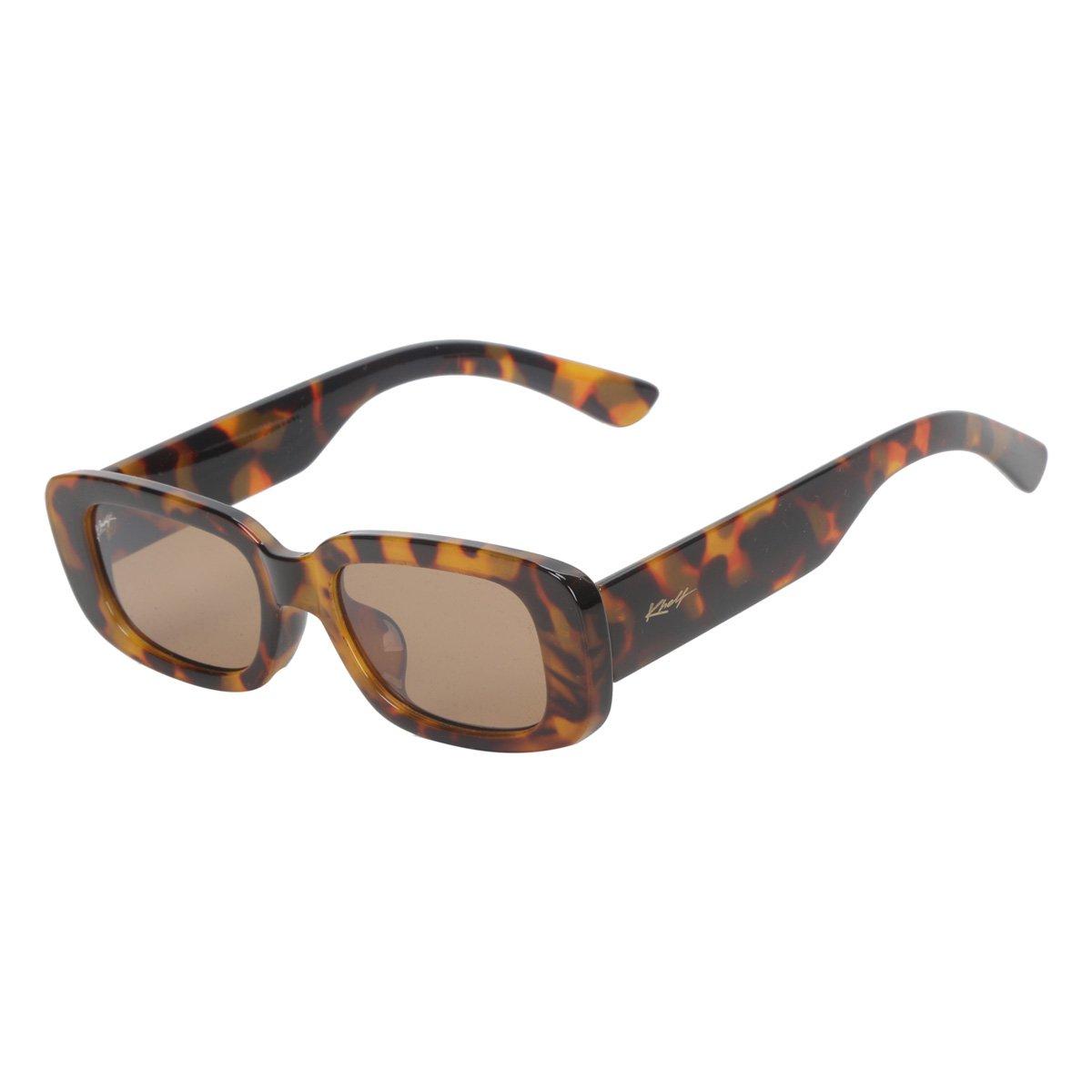 Óculos De Sol Khelf Oval Acetato MG1014 Feminino - Marrom+Preto