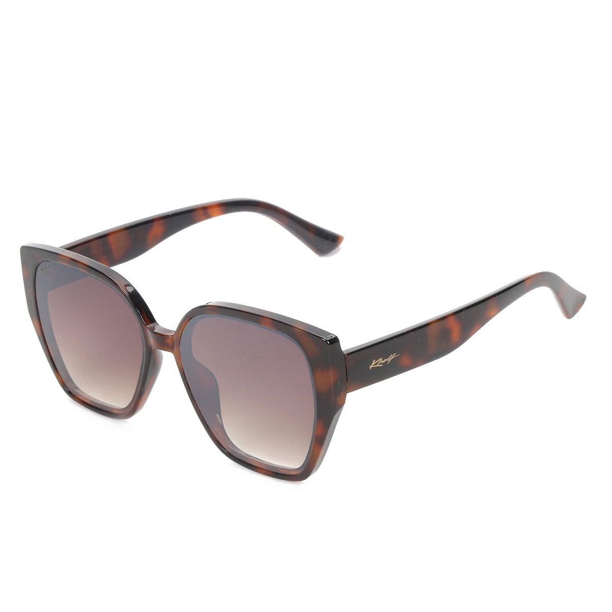 Óculos de Sol Khelf Quadrado Acetato MG1021 Feminino - Marrom+Preto