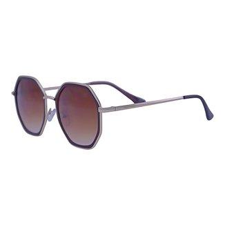 Óculos de Sol Mackage Unissex Metal Hexagonal - Dourado/marrom