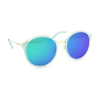 Óculos de Sol Marmorizado Redondo Lente  Espelhada