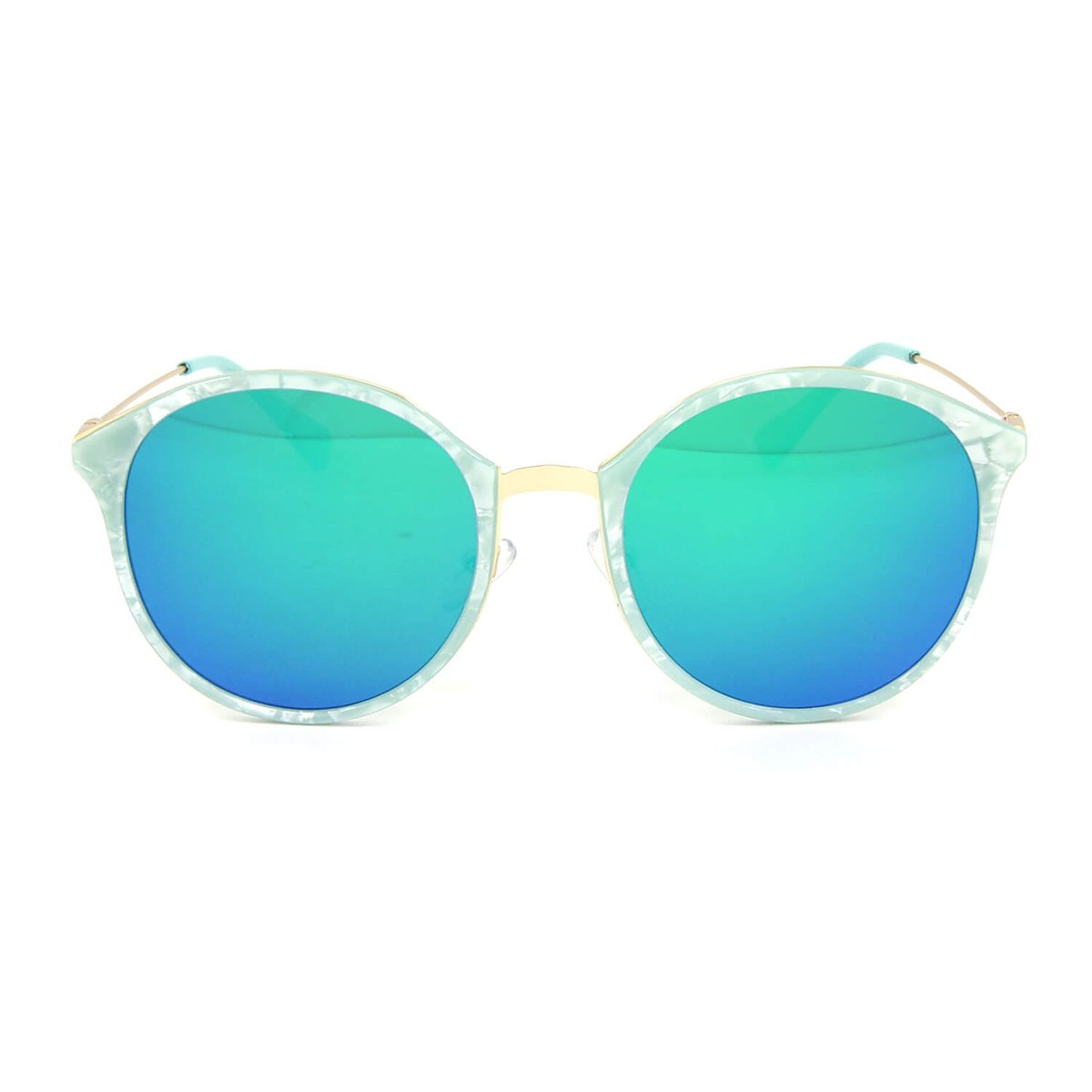 Óculos de Sol Marmorizado Redondo Lente Espelhada - Azul - Compre ... 58952b78b1