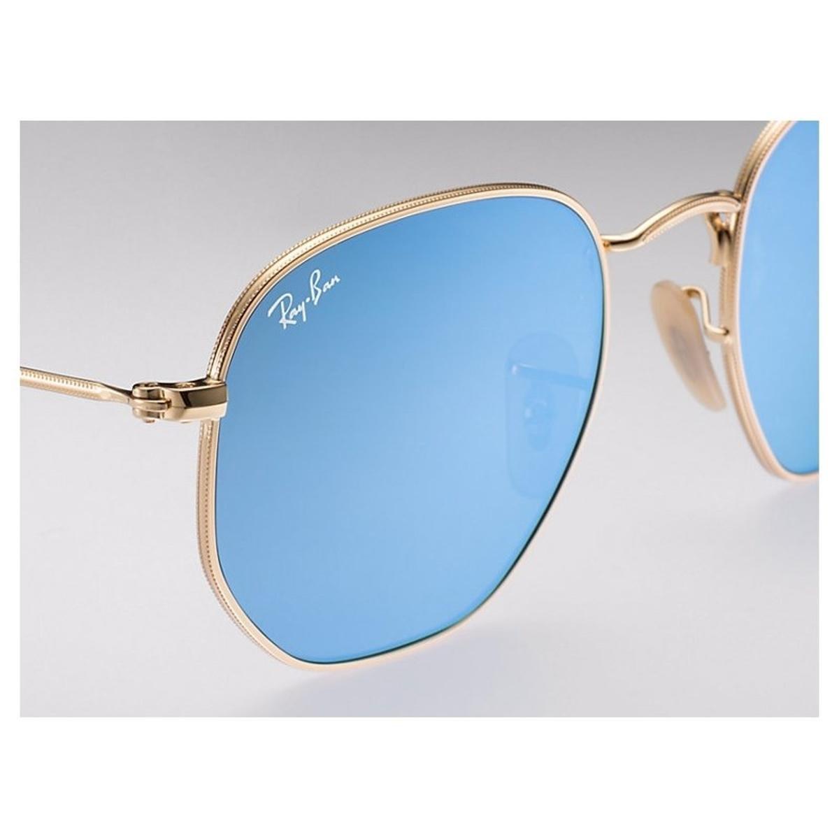 Óculos de Sol Ray Ban Hexagonal RB3548NL - Dourado e Azul - Compre ... 70cadb74b5