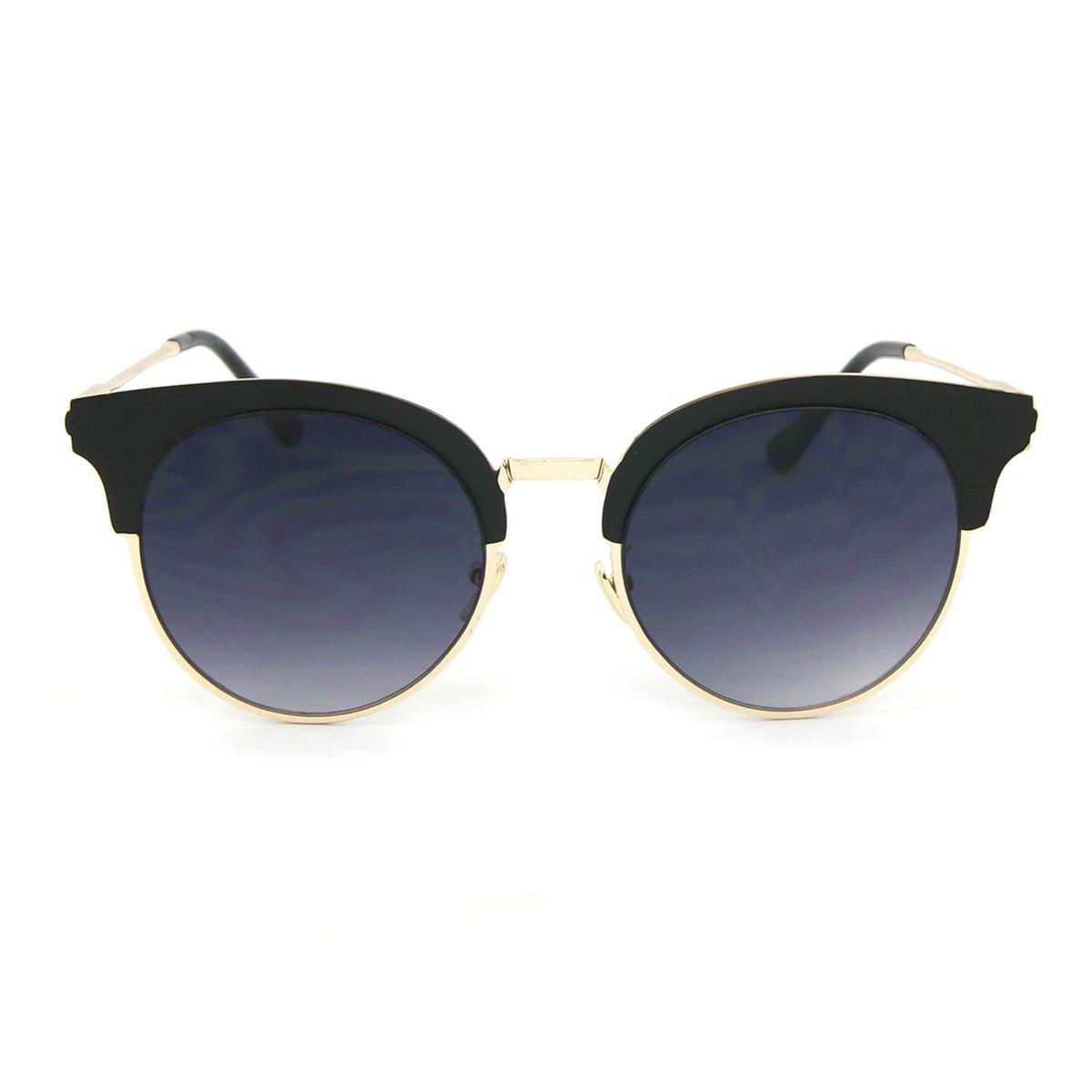 Óculos de Sol Redondo Gatinha Style Fosco - Preto - Compre Agora ... 516fc6ac73