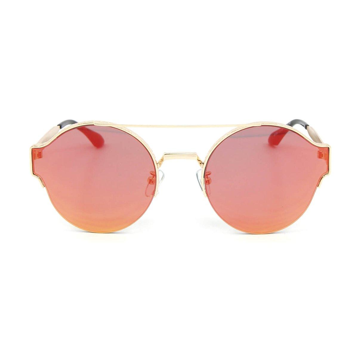 Óculos de Sol Redondo Style Lente Espelhada Laranja - Laranja ... e7618cc5d9