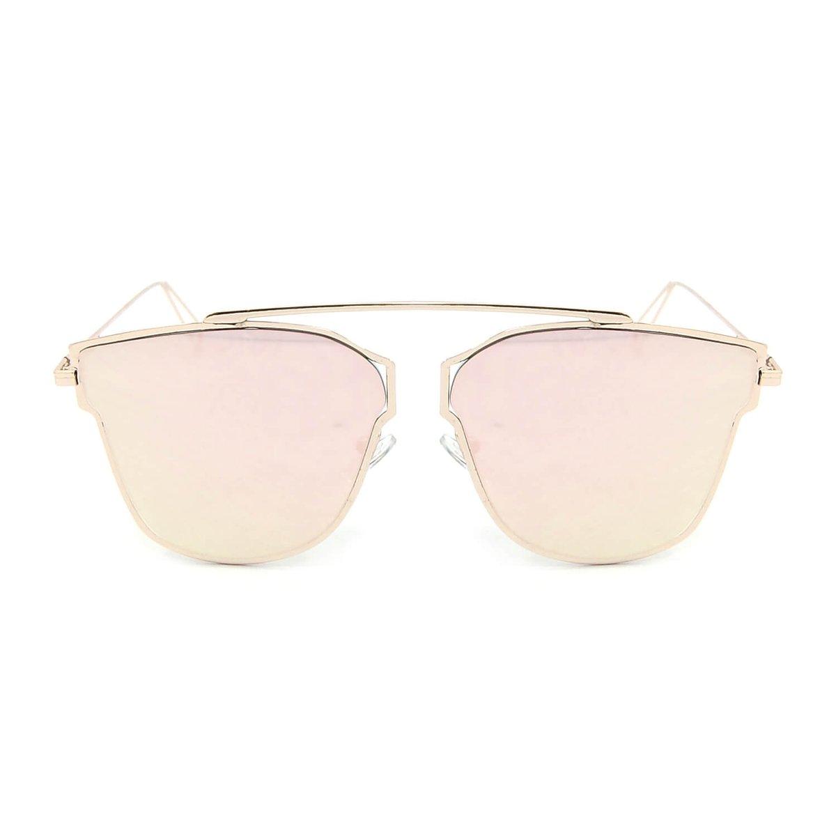 Óculos de Sol Rosé Estilo Flat com Lente Espelhada - Compre Agora ... 8324297e8d