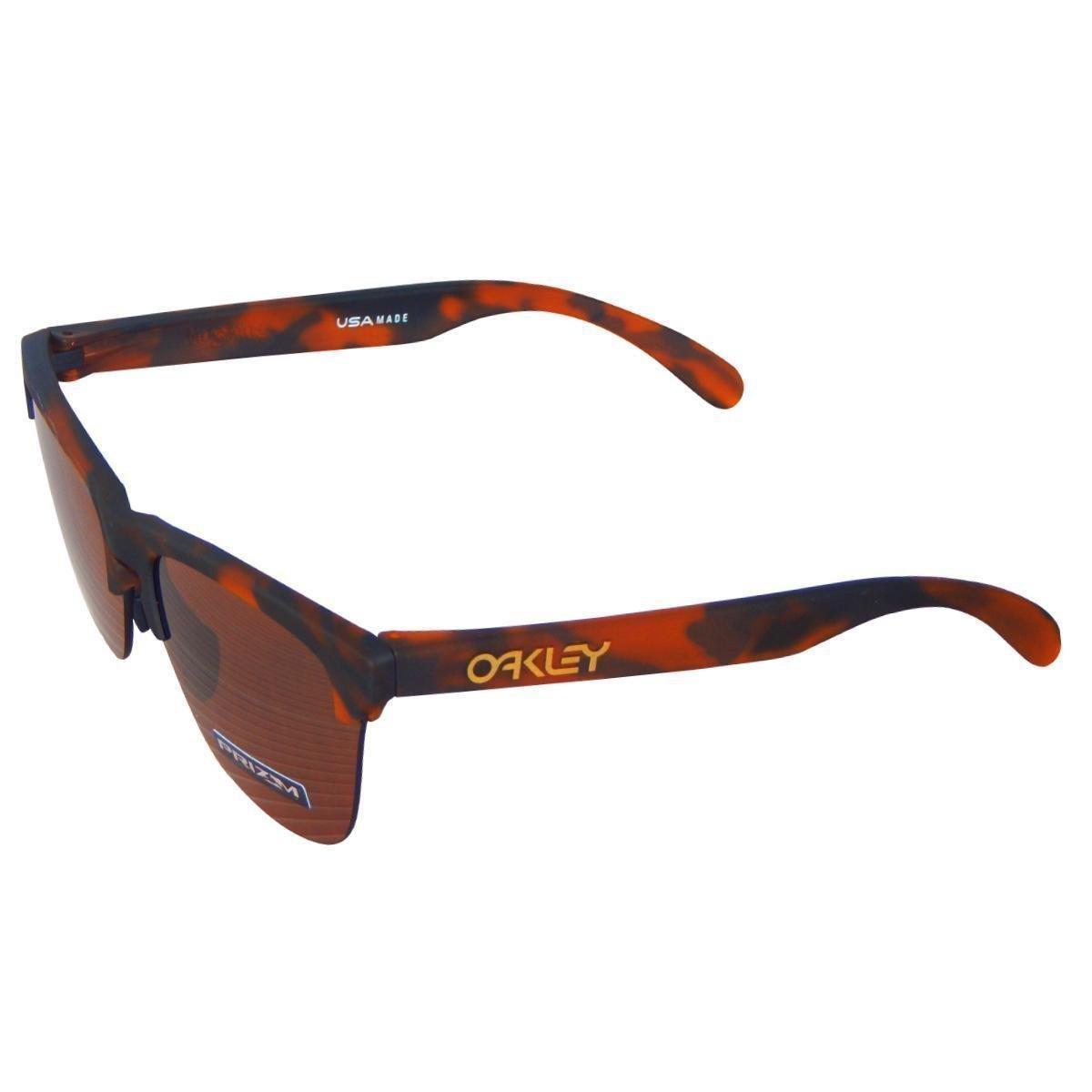 ... Óculos Oakley Frogskins Lite Matte Brown Tortoise  Lente Prizm Tungsten  ... b5831a601c