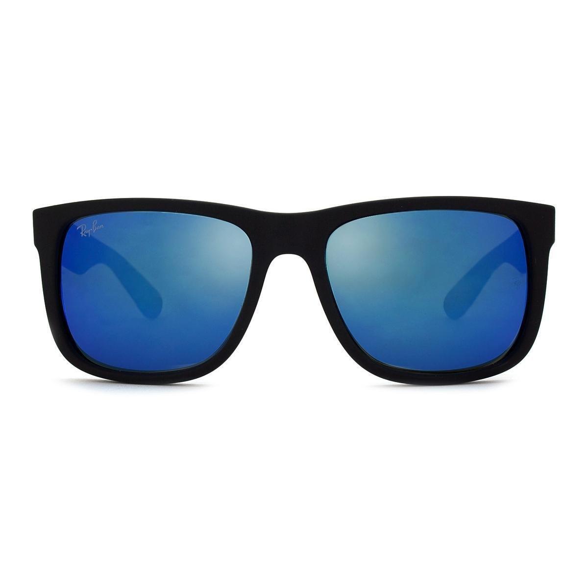 ray ban justin preto lente azul