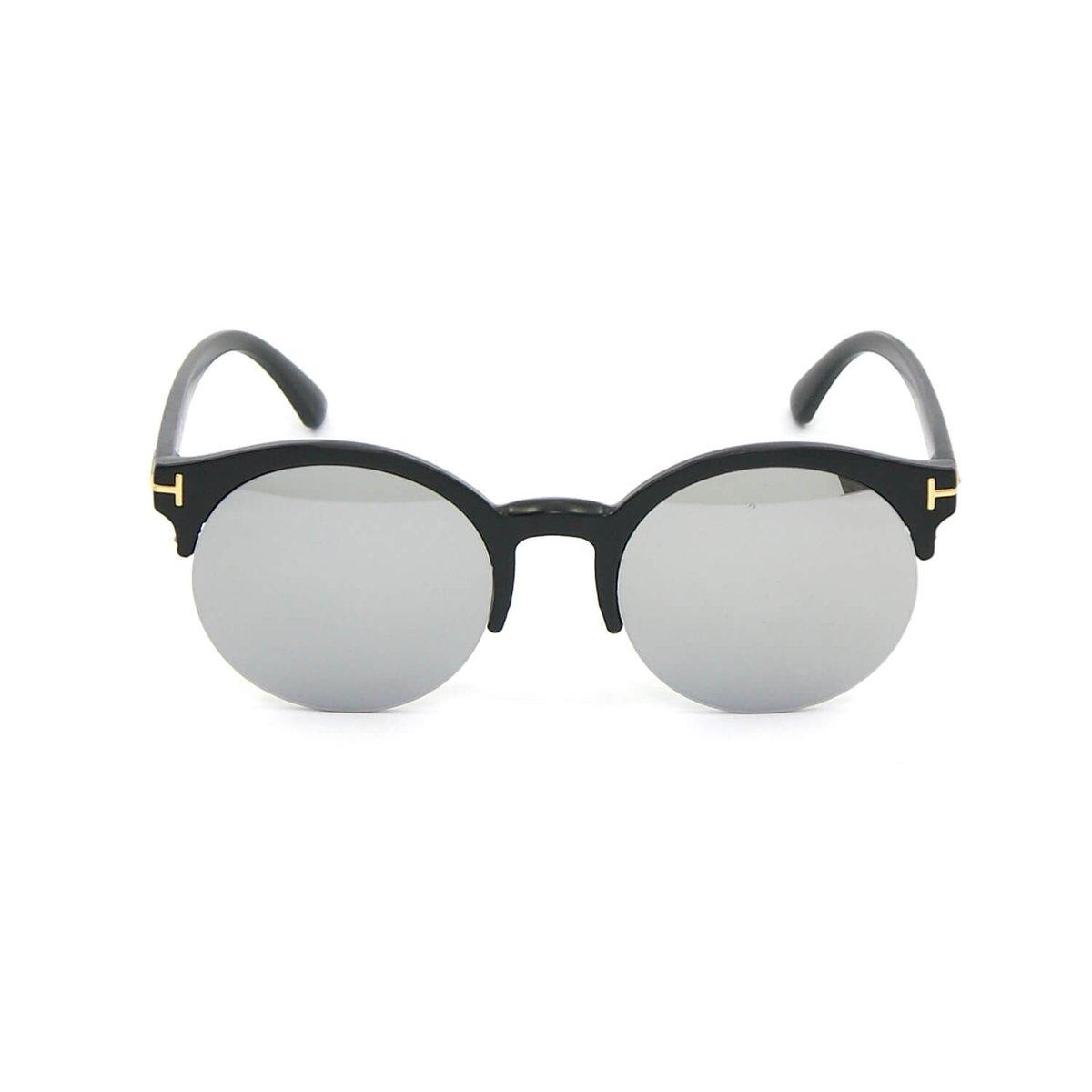 Óculos Redondo Preto com Lente Espelhada - Preto
