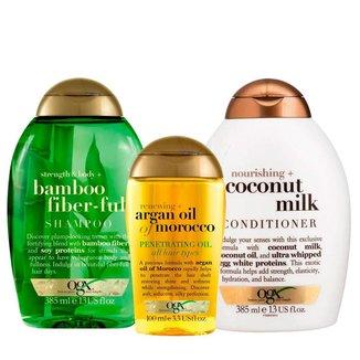 OGX Bamboo Fiberfull, Coconut Milk e Marocco Penetrating Oil Kit - Shampoo + Condicionador + Óleo Ki