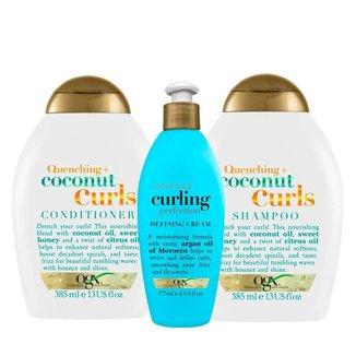 OGX Coconut Curls e Argan Oil Curling Perfection Kit - Shampoo + Condicionador + Creme de Pentear Ki