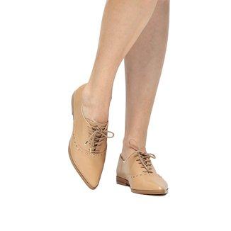 Oxford Couro Shoestock Bico Fino Cravinhos Feminino