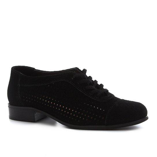 Oxford Couro Shoestock Camurça Cadarço Feminino - Preto