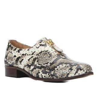 Oxford Couro Shoestock Cobra Zíper Feminino
