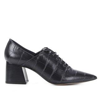 Oxford Couro Shoestock Croco Bico Fino Salto Médio Feminino