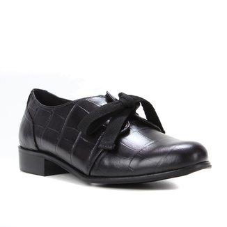 Oxford Couro Shoestock Croco Laço Feminino