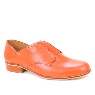 Oxford Couro Shoestock Elástico Salto Fachete Feminino
