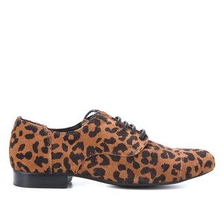 Oxford Couro Shoestock Helena Onça Camurça Feminino