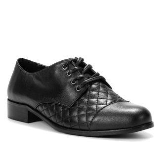 Oxford Couro Shoestock Salto Fachete Feminino