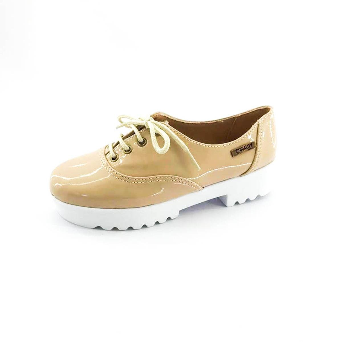 Oxford Quality Quality Shoes Bege Oxford Verniz Feminino Shoes Tratorado qgrgtw