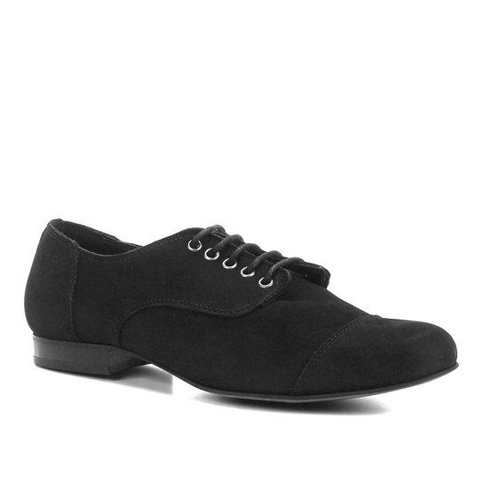 Oxford Shoestock Flat Nobuck Feminino - Preto