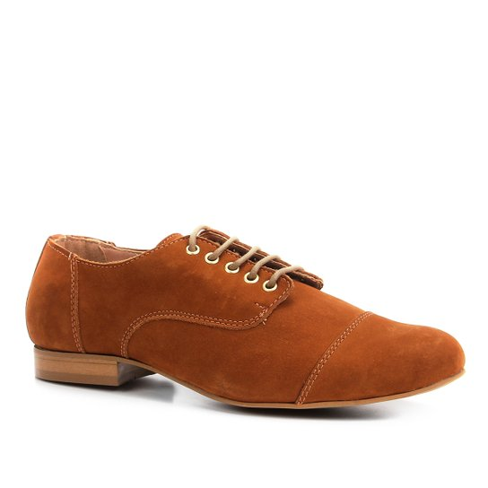 Oxford Shoestock Flat Nobuck Feminino - Caramelo