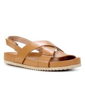 Papete Couro Shoestock Tiras Cruzadas Feminina
