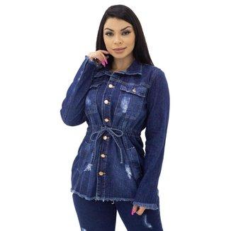 Parka Jeans com Amarração Feminina Naraka
