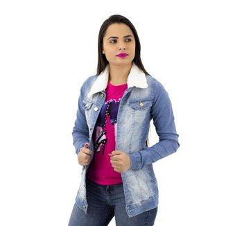 Parka Jeans com Gola de Pelúcia Removível