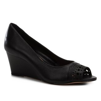 Peep Toe Anabela Shoestock Couro Laser