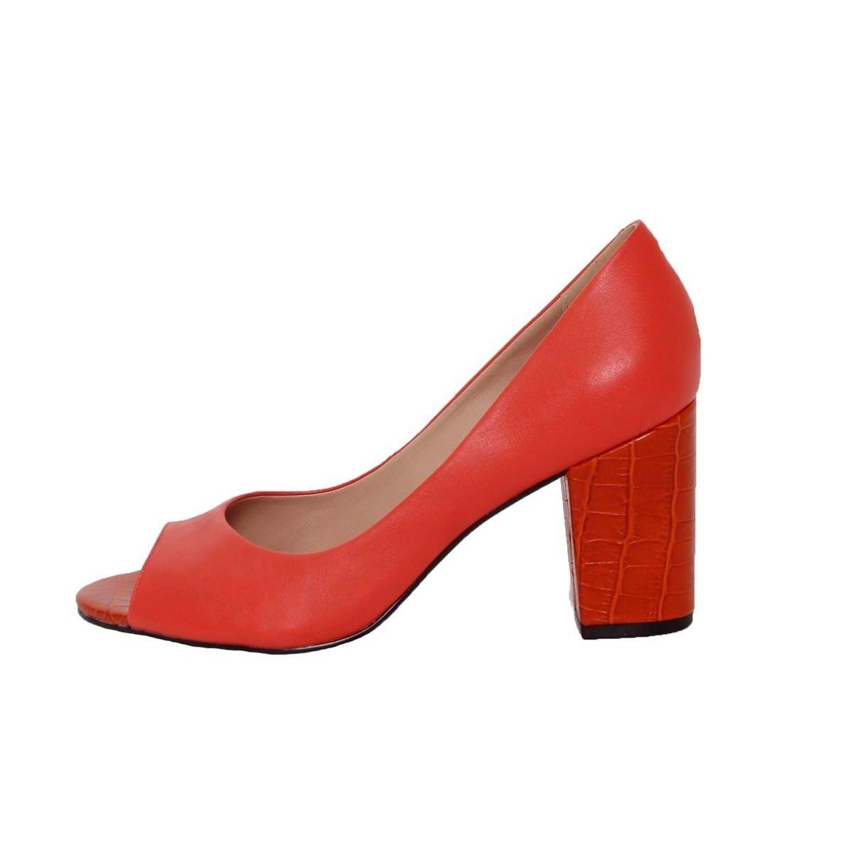 Fashion Couro Quadrado Conceito Peep Toe Feminino Salto Peep Toe Vermelho WnqIvvaX