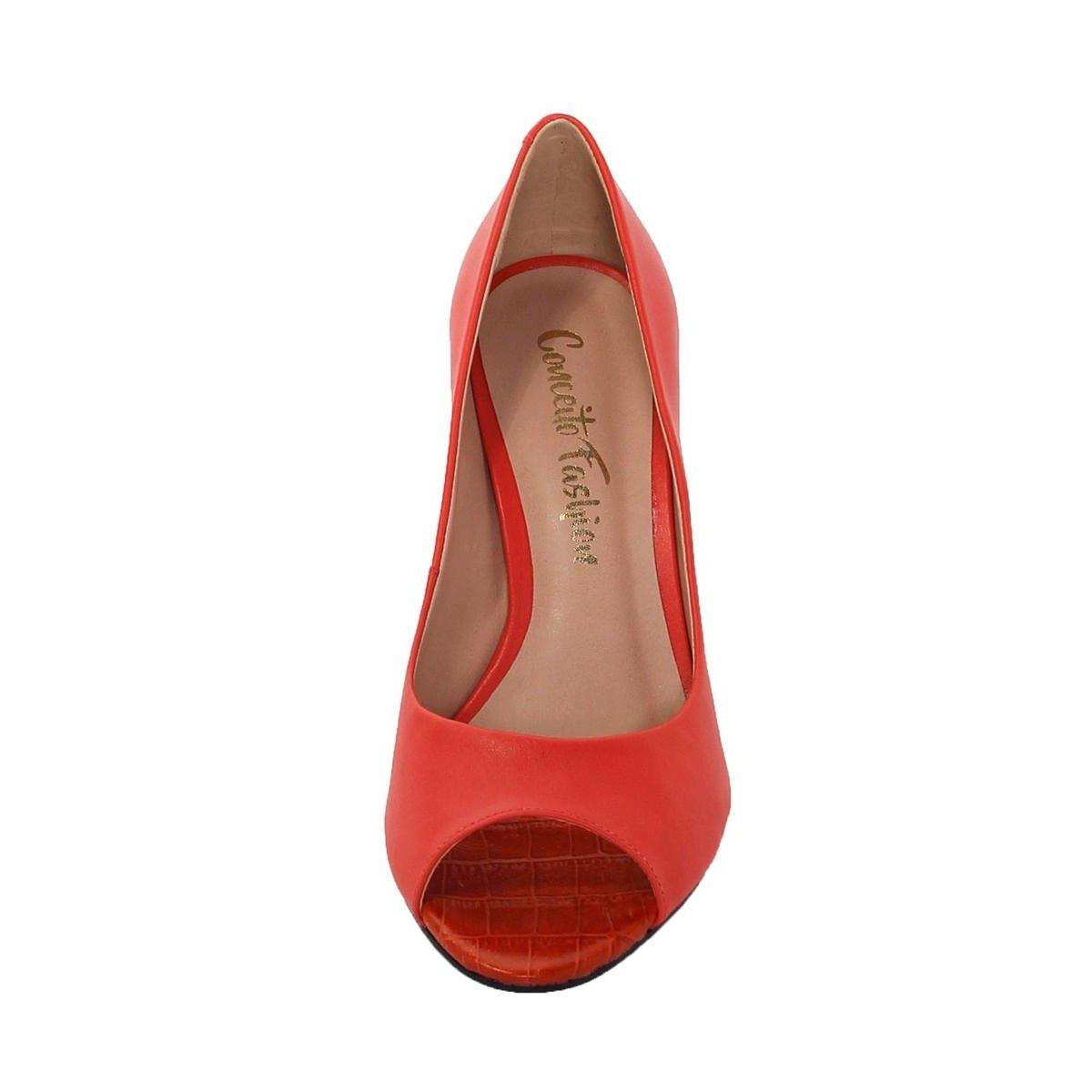 Peep Couro Vermelho Toe Salto Conceito Quadrado Toe Feminino Fashion Peep UvrxgnUR