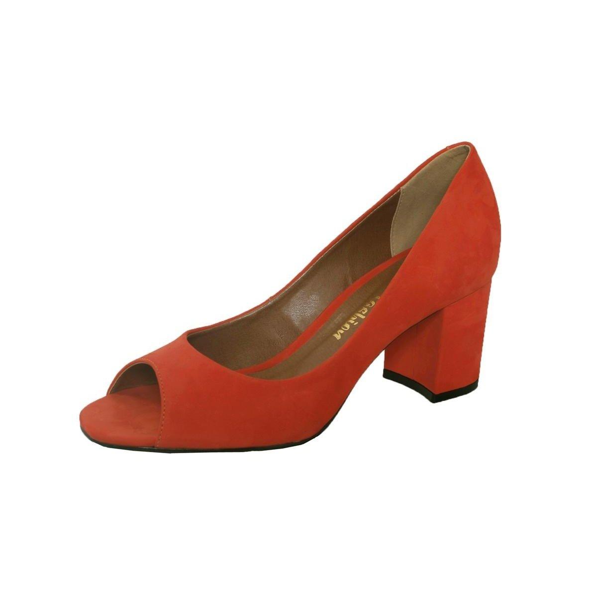 Salto Peep Toe Quadrado Couro Vermelho Toe Peep Feminino Conceito Fashion YqnwR