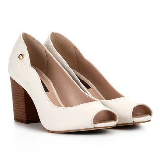Peep Toe Couro Jorge Bischoff Salto Grosso Floater