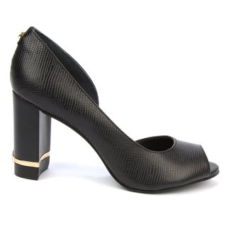 Peep Toe Couro Jorge Bischoff Snake Salto Grosso