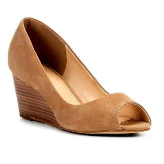 Peep Toe Couro Shoestock Anabela Básico Fachete